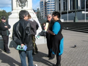 Green MP Metiria Turei speaking with NORML members