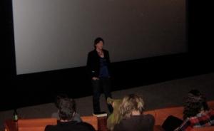 Jan Logie speaking before the screening.