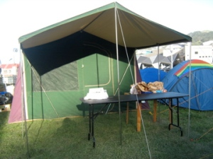 Loaned tent, replacing storm-damaged wharenui tarp, day three