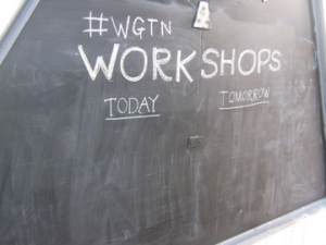 A dry blackboard, workshops notices day three