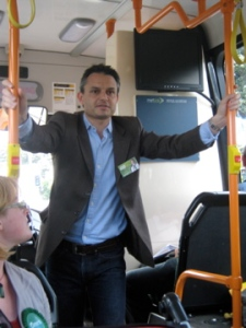 James Shaw as the bus rounds the Basin Reserve