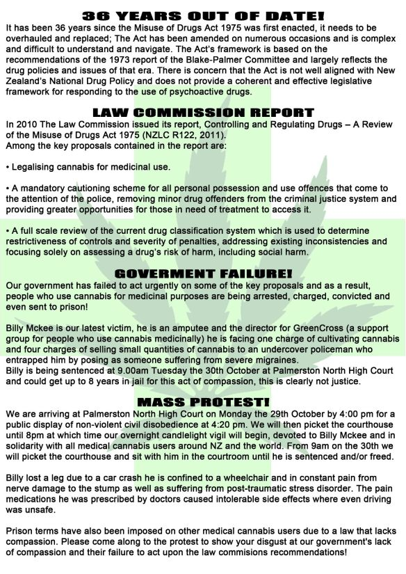 NORML protest poster 29 Oct